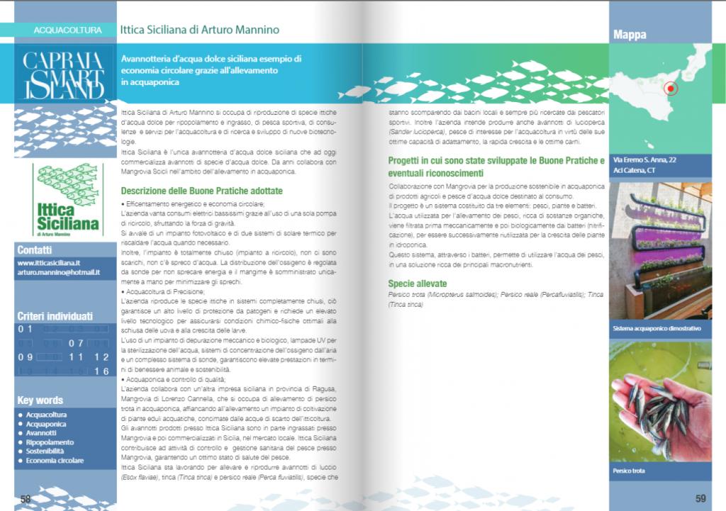 manuale buone pratiche capraia smart island 2021 ittica siciliana acquacoltura acquaponica avannotteria